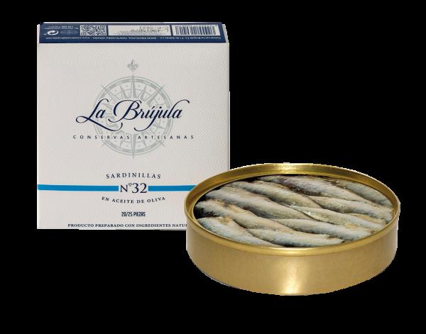 La Brújula N.32 Kleine Sardinen in Olivenöl 130g/110g