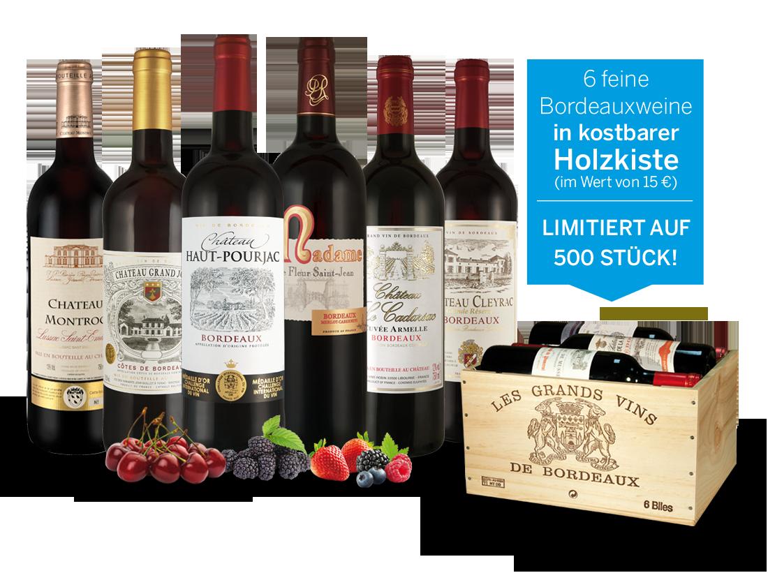Probierpaket Die Welt der Bordeaux-Weine in Holzkiste11,11€ pro l Sale Angebote Drebkau