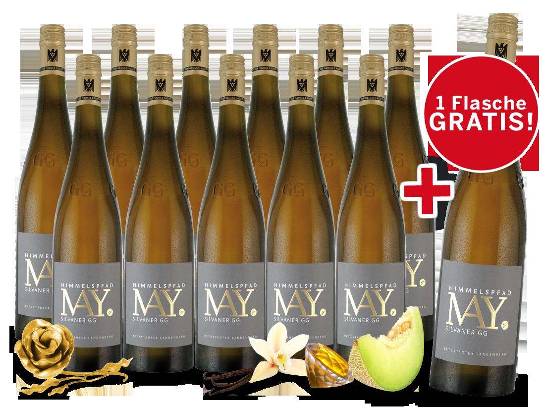 Paket 11+1 Weingut Rudolf May Himmelspfad Silvaner GG40,33€ pro l