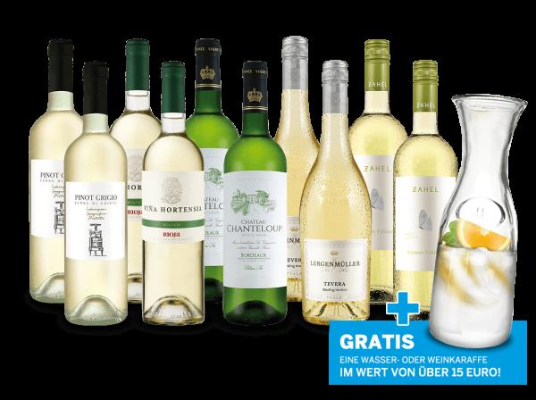 Vorratspaket 10 Fl. 'Die Welt des Weißweins' plus gratis Karaffe