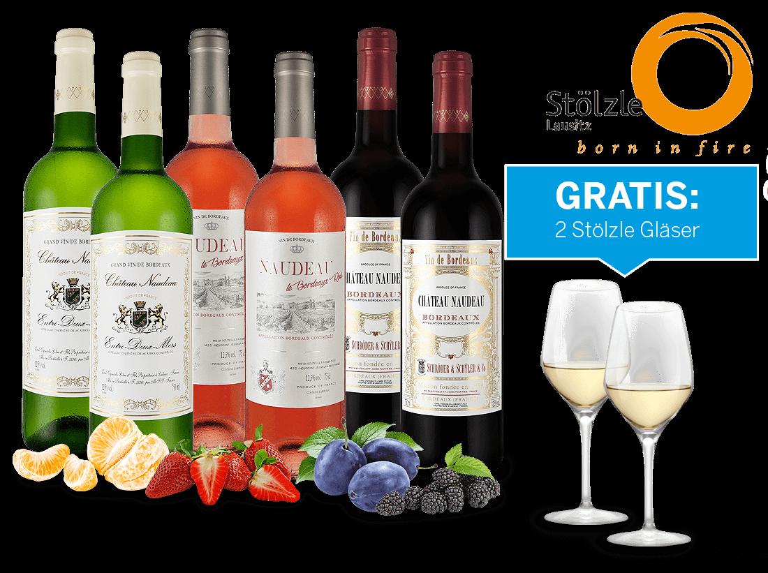 Kennenlernpaket Château Naudeau mit je 2 Flaschen und 4 Gläser gratis9,98? pro l