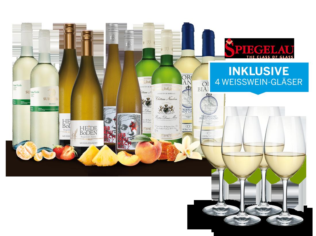 Weißwein-Vorteilspaket So schmeckt der Frühling mit 10 Flaschen und 4 Gläsern8,65? pro l