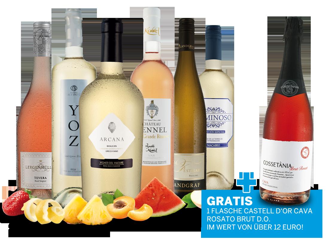 Probierpaket Weiß- und Roséweine im Genießermix mit 1 Flasche Cava Rosé gratis9,98€ pro l