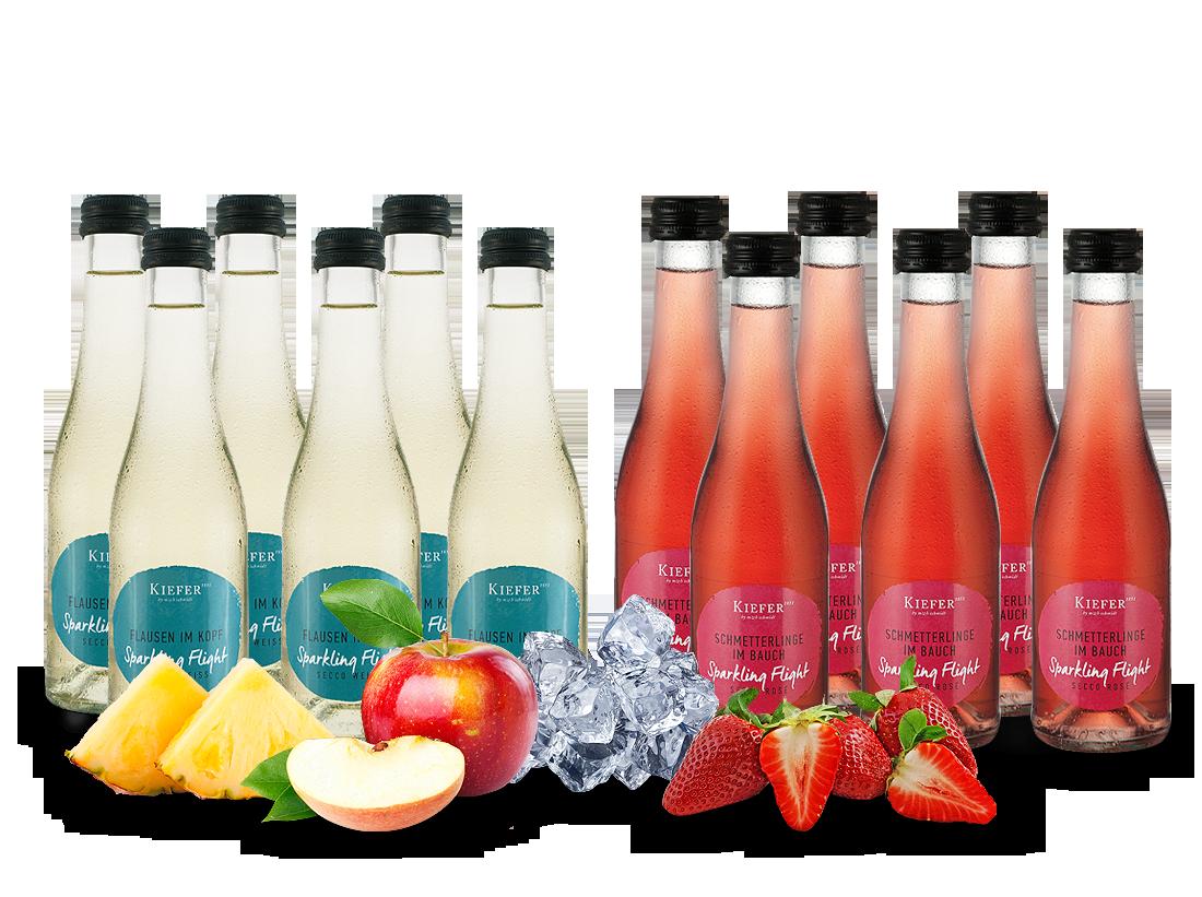 Vorteilspaket 12 Flaschen à 0,2l Kiefer Secco Sparkling Flight Weiß & Rosé12,08? pro l