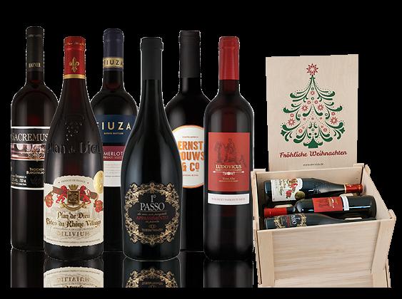 Rotweinpaket 'Fröhliche Weihnachten' mit 6 Flaschen in hochwertiger Holzkiste