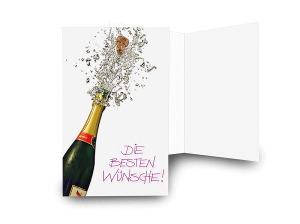 Grußkarte In Sektlaune 'Die besten Wünsche'