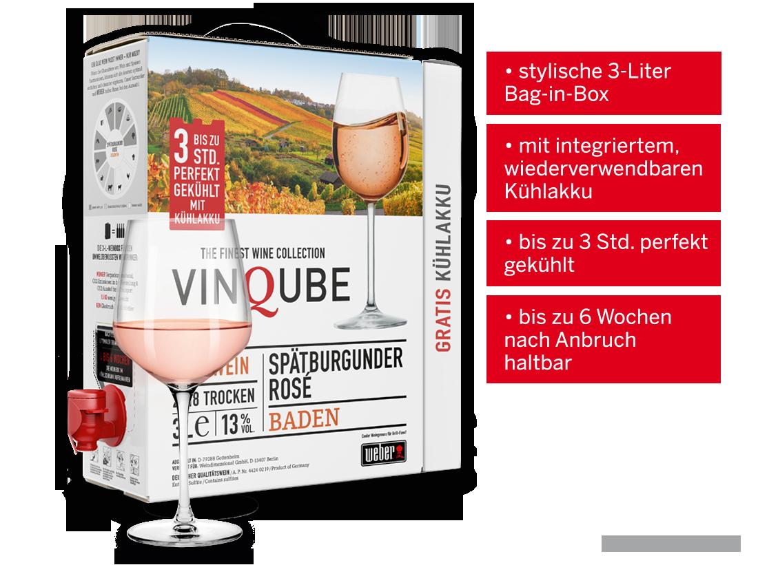 Roséwein Vinqube Spätburgunder Rosé Baden 3 l mit wiederverwendbaren Kühlakku Baden 6,66? pro l