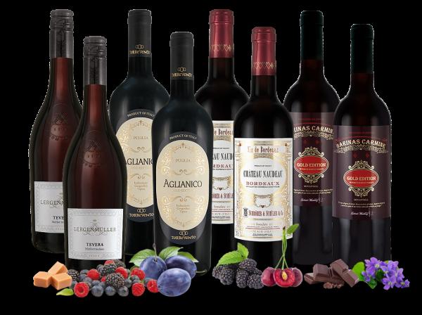 Rote Weinperlen Europas mit 8 Flaschen