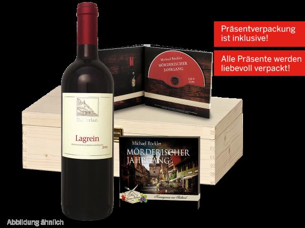 Präsent Südtiroler Krimivergnügen mit 1 Flasche Lagrein & 1 Hörspiel
