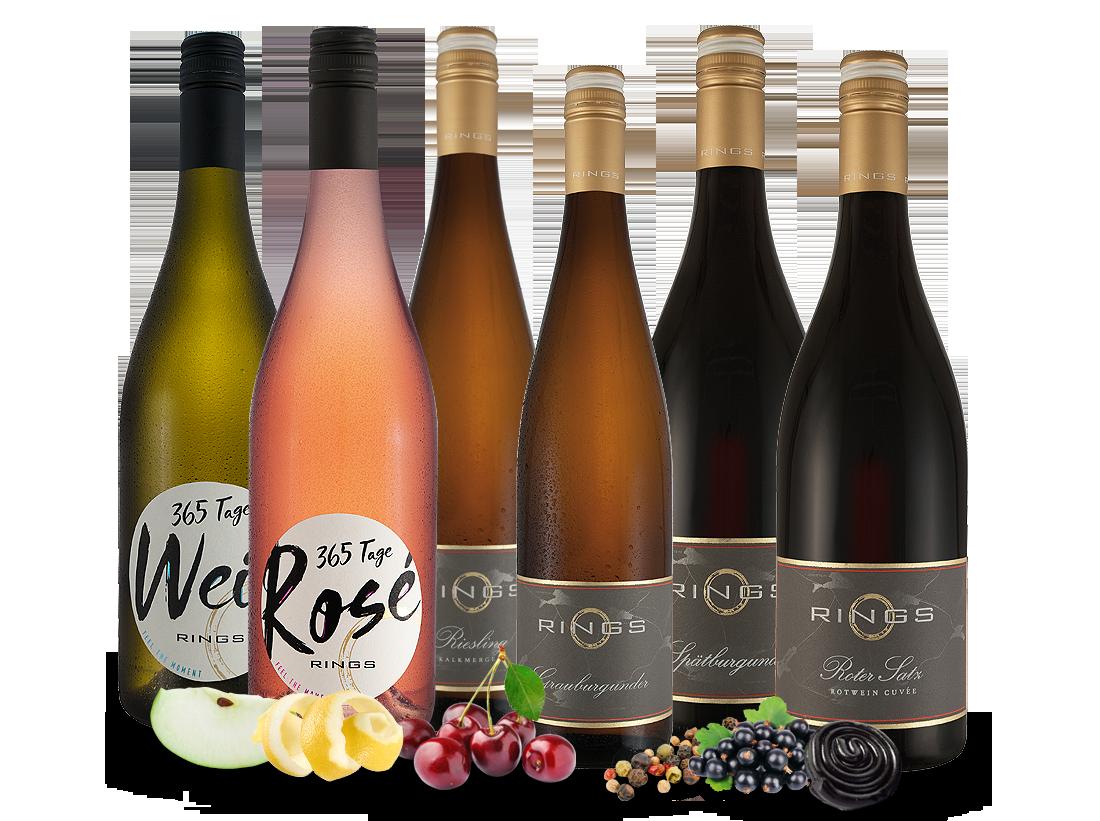 Kennenlernpaket Basis- und Gutsweine vom Weingut Rings aus der Pfalz12,22€ pro l jetztbilligerkaufen