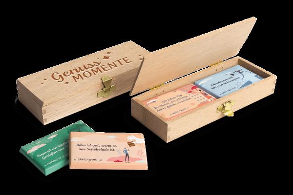 DreiMeister Schokoladen-Täfelchen in Holzkiste 'Genuss-Momente' 45 g