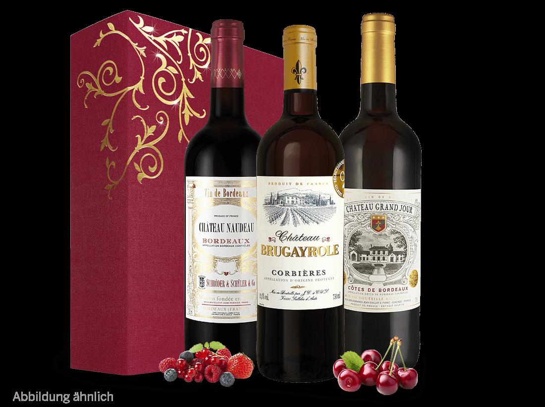 Rotwein Französisches Weingeschenk - Vive la France Bordeaux, Languedoc 13,29? pro l