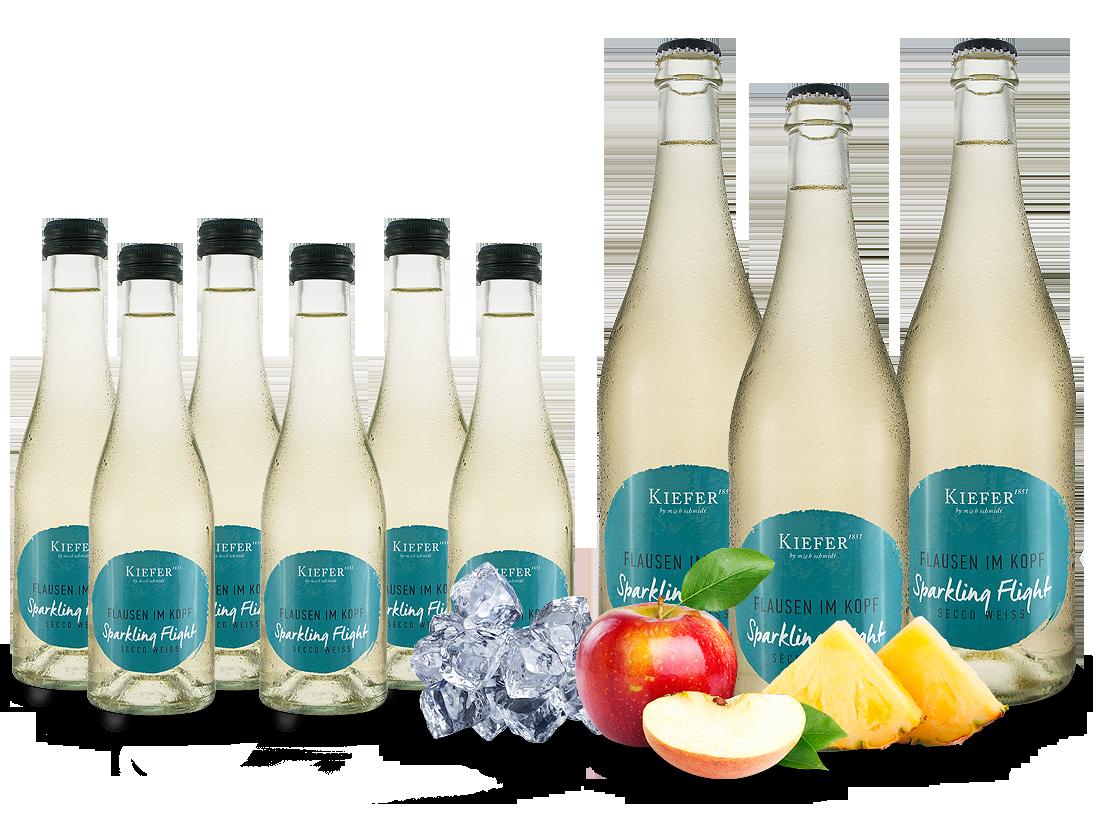 Vorteilspaket 9 Flaschen Kiefer Secco Weiß Flausen im Kopf 3 x 0,75l und 6 x 0,2l10,14? pro l