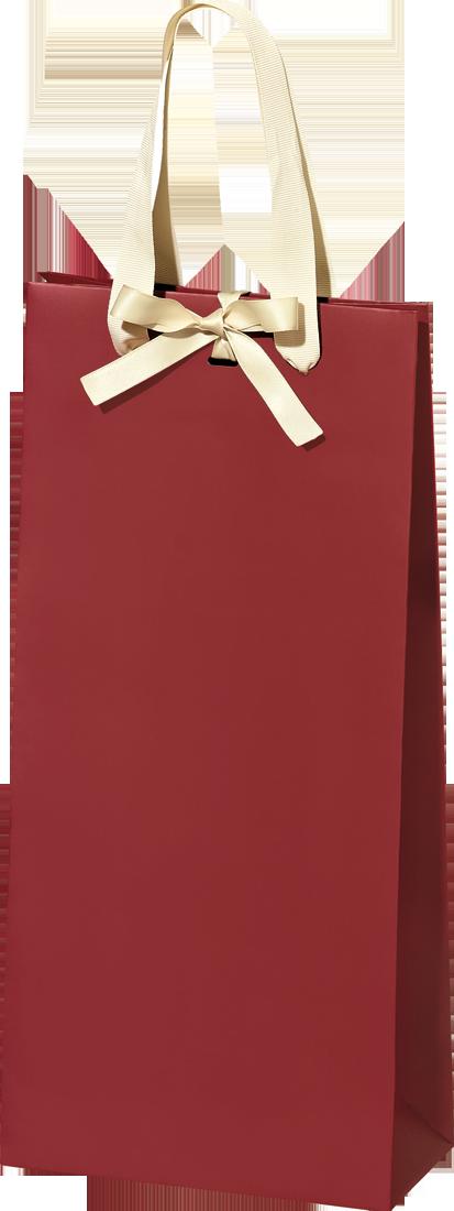 Hochwertige Papiertüte Verso Bordeaux mit Schleife für 2 Flaschen