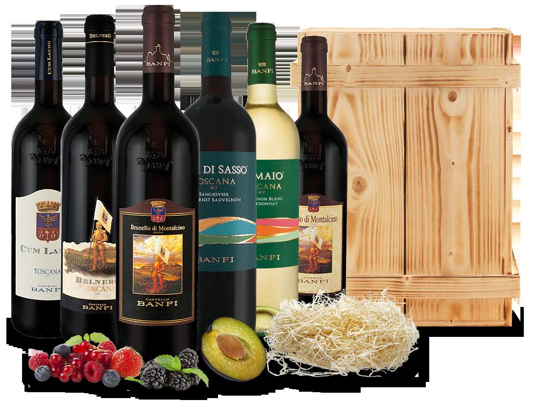 Kennenlernpaket Castello Banfi aus der Toskana in Holzkiste17,76€ pro l