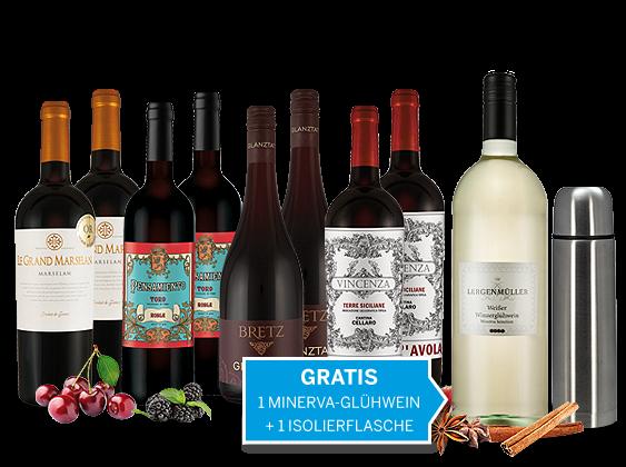 Weihnachts-Schnäppchen-Weinpaket mit 1 Fl. weißer Winzerglühwein und Isolierflasche gratis