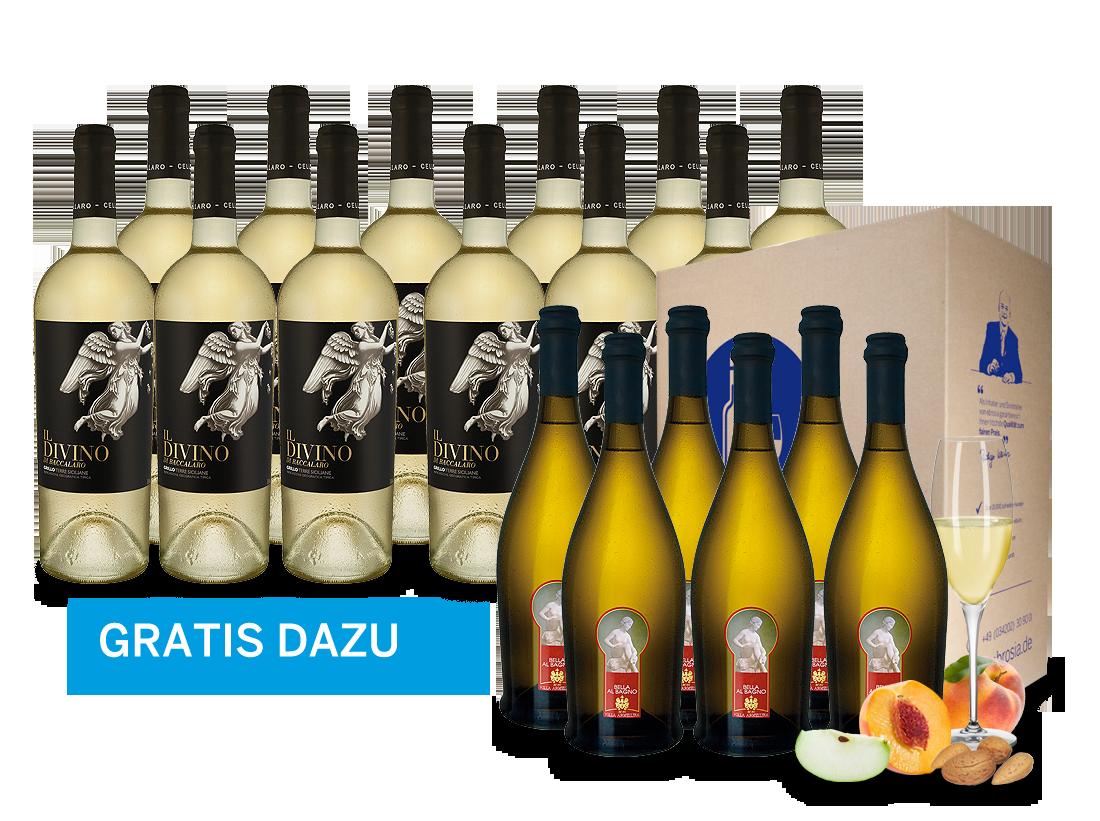 12 Flaschen Grillo Il Divino inkl. 6 Flaschen Bella al Bagno gratis9,44€ pro l