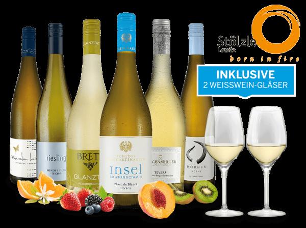 Aktion SonnenklarTV - Weißwein-Genusspaket Dtl. mit 6 Flaschen und 2 Gläser inklusive