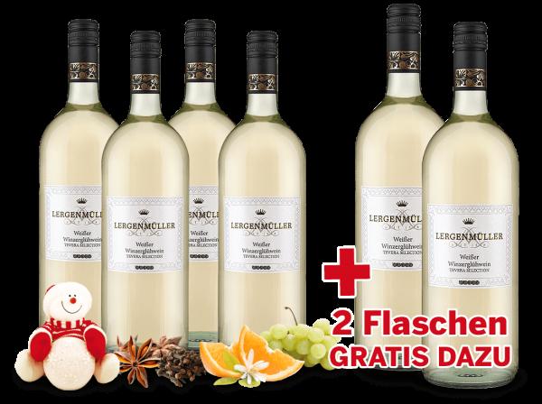 Vorteilspaket 6 Flaschen TEVERA Weißer Winzerglühwein davon 2 Flaschen gratis