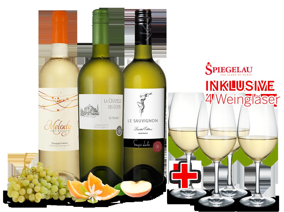 Kennenlernpaket François Lurton aus Südfrankreich inkl. 4 Weißwein-Gläser15,55€ pro l