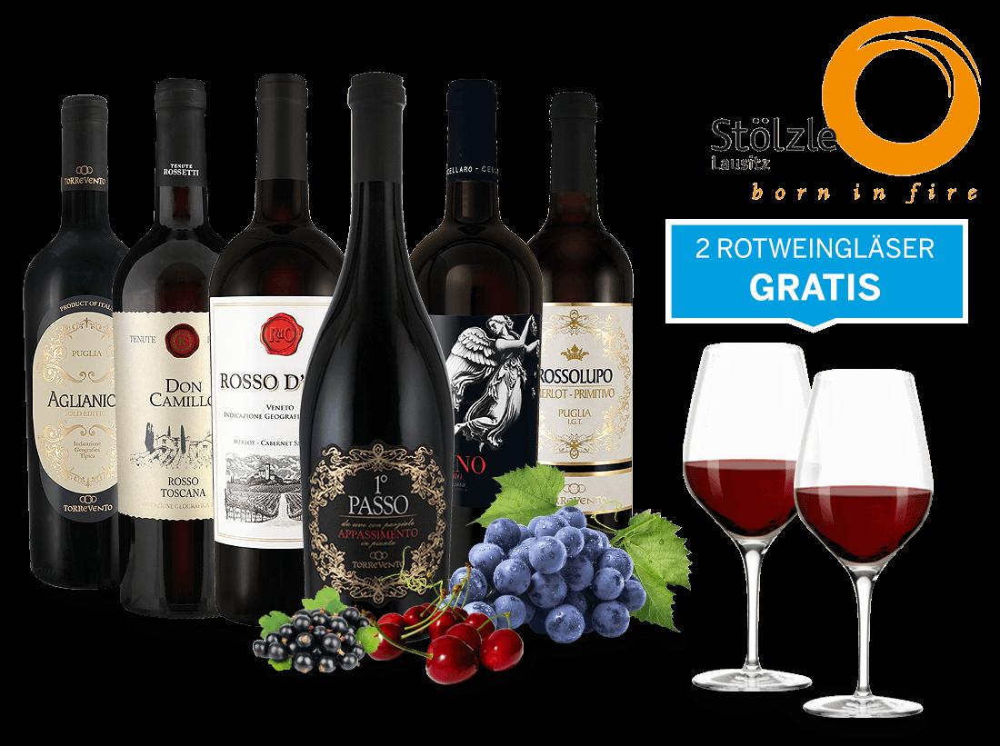 Italien-Genusspaket mit 6 Flaschen und 4 Gläser...