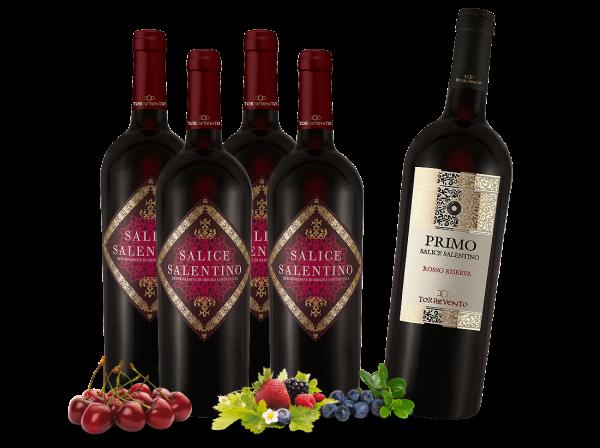 Vorteilspaket mit 5 Flaschen Salice Salentino davon 1 Flasche Salice Salentino 'PRIMO'