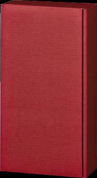 Präsentkarton Lino rot in Leinenoptik für 2 Flaschen
