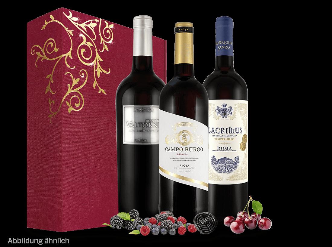 Rotwein Spanisches Weingeschenk - Temperamentvolle Überraschung Bierzo, Ribera del Duero, Rioja 13,29? pro l