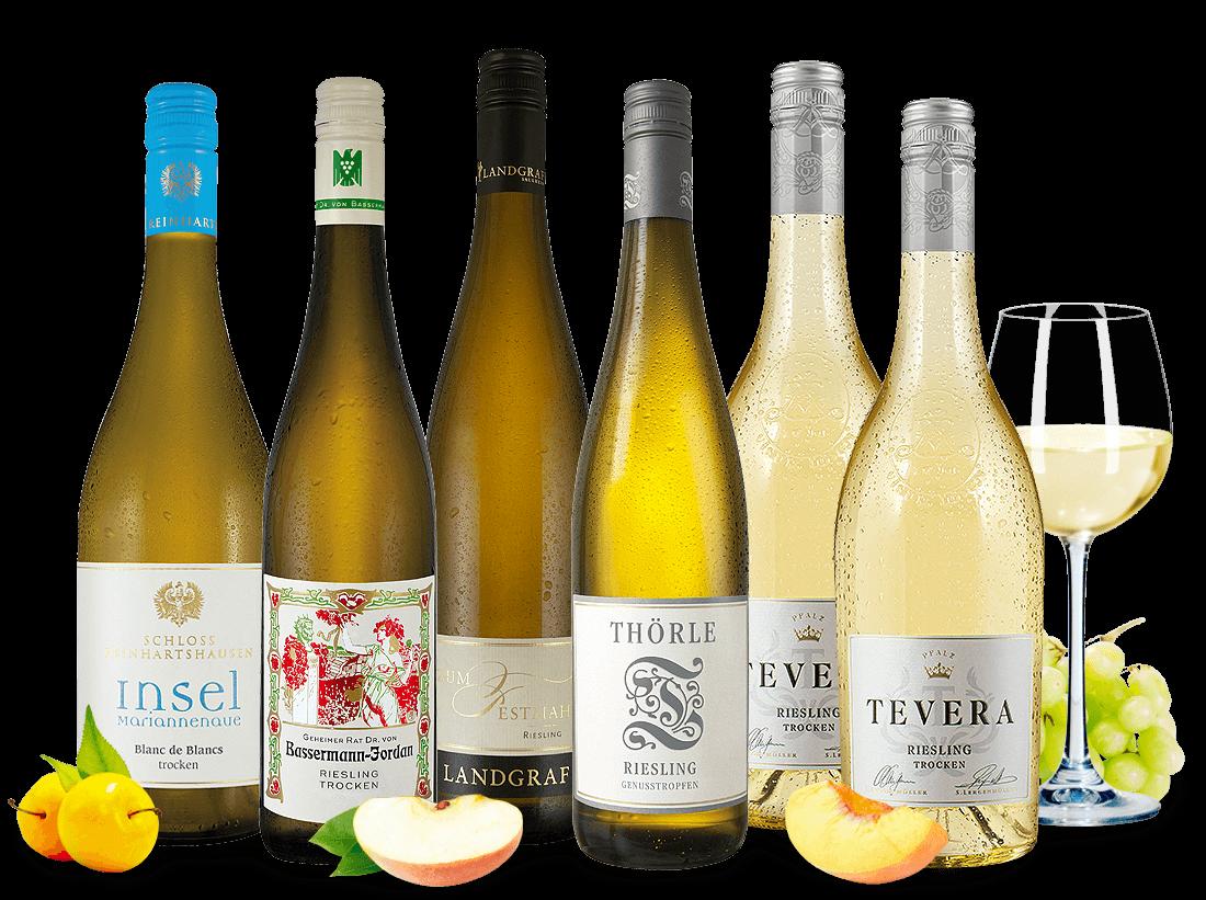 Probierpaket mit 6 Flaschen Deutsche Weißweinauswahl von echten Aufsteigern9,78? pro l