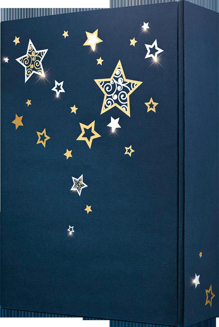 Präsentkarton Lino Sternentraum dunkelblau für 3 Flaschen