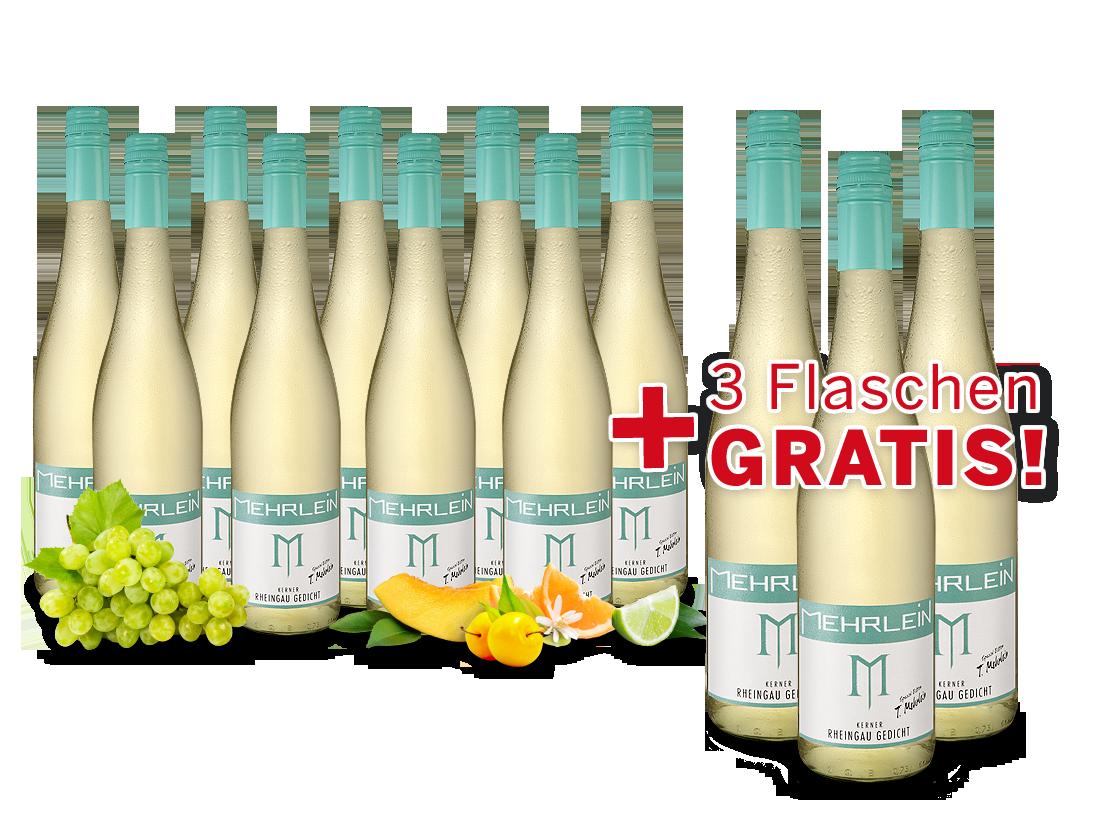 Vorteilspaket 9 + 3 Fl. gratis Kerner Rheingau Gedicht Weingut Mehrlein7,67€ pro l
