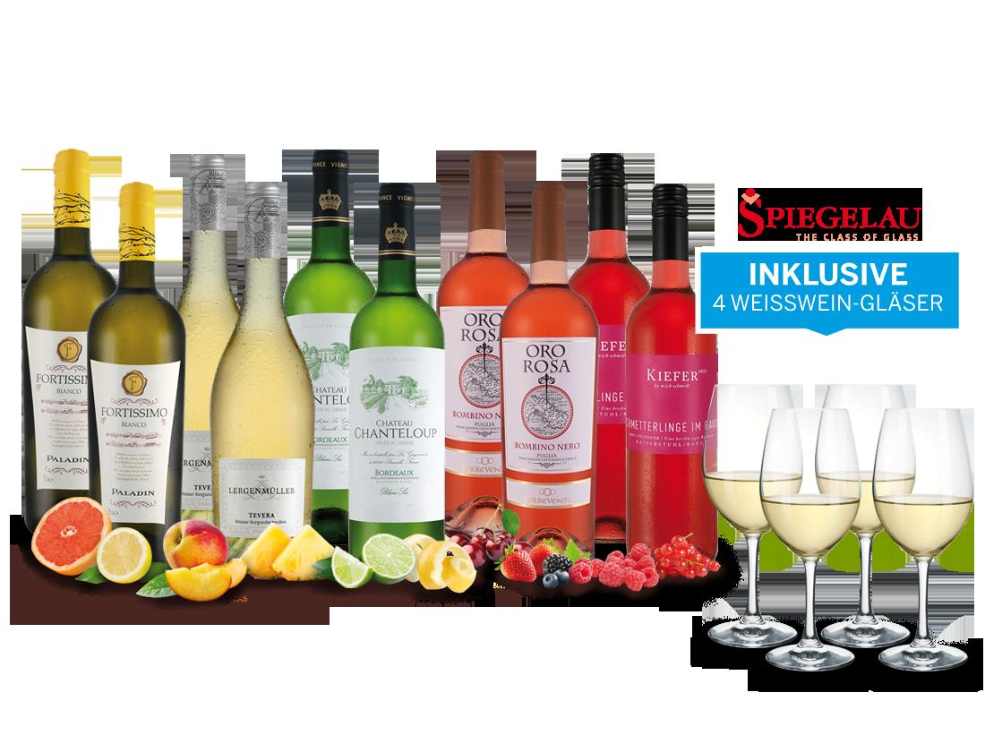 Vorteilspaket in Weiß und Rosé mit 10 Flaschen und 4 Spiegelau-Gläsern8,65? pro l