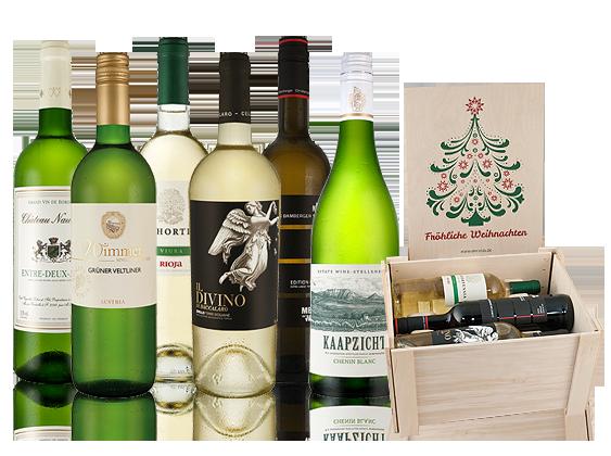 Neiße-Malxetal Angebote Weißweinpaket Fröhliche Weihnachten mit 6 Flaschen in hochwertiger Holzkiste11,09€ pro l