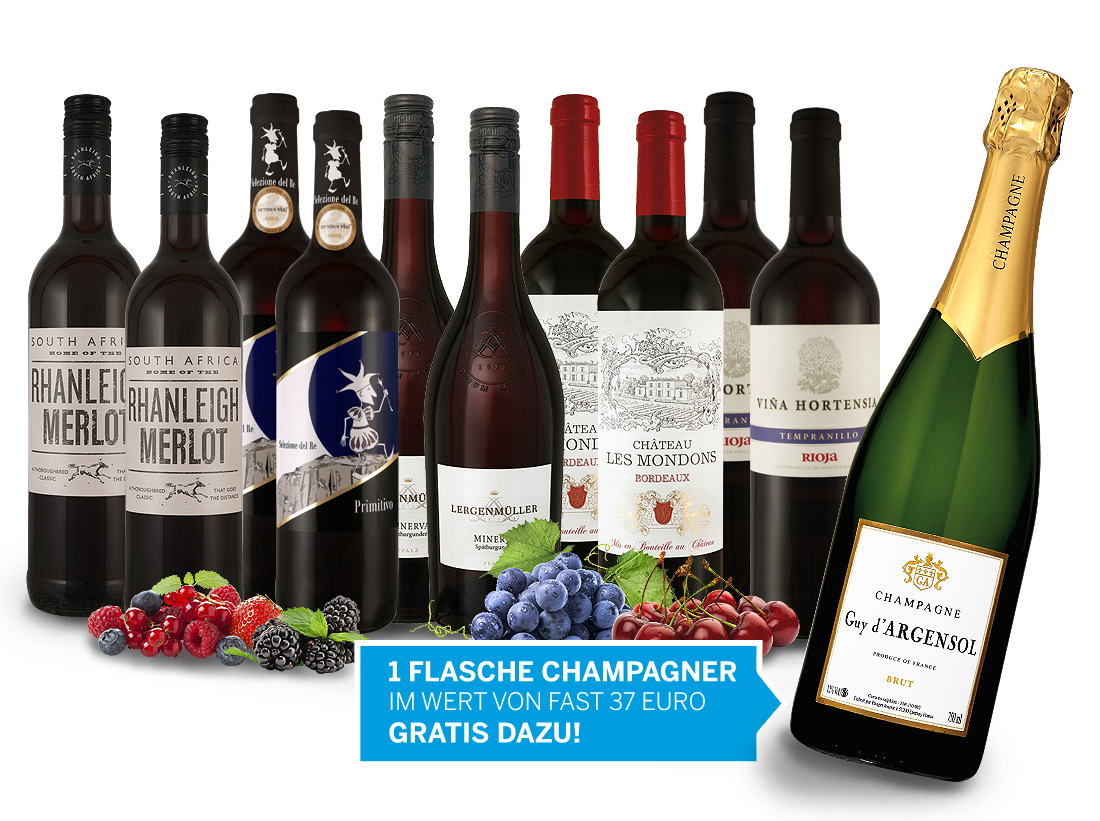 Köstliche Weine für die Festtage und 1 Flasche Champagner gratis9,33€ pro l