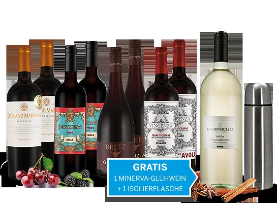 Weihnachts-Schnäppchen-Weinpaket mit 1 Fl. weißer Winzerglühwein und Isolierflasche gratis10,00€ pro l