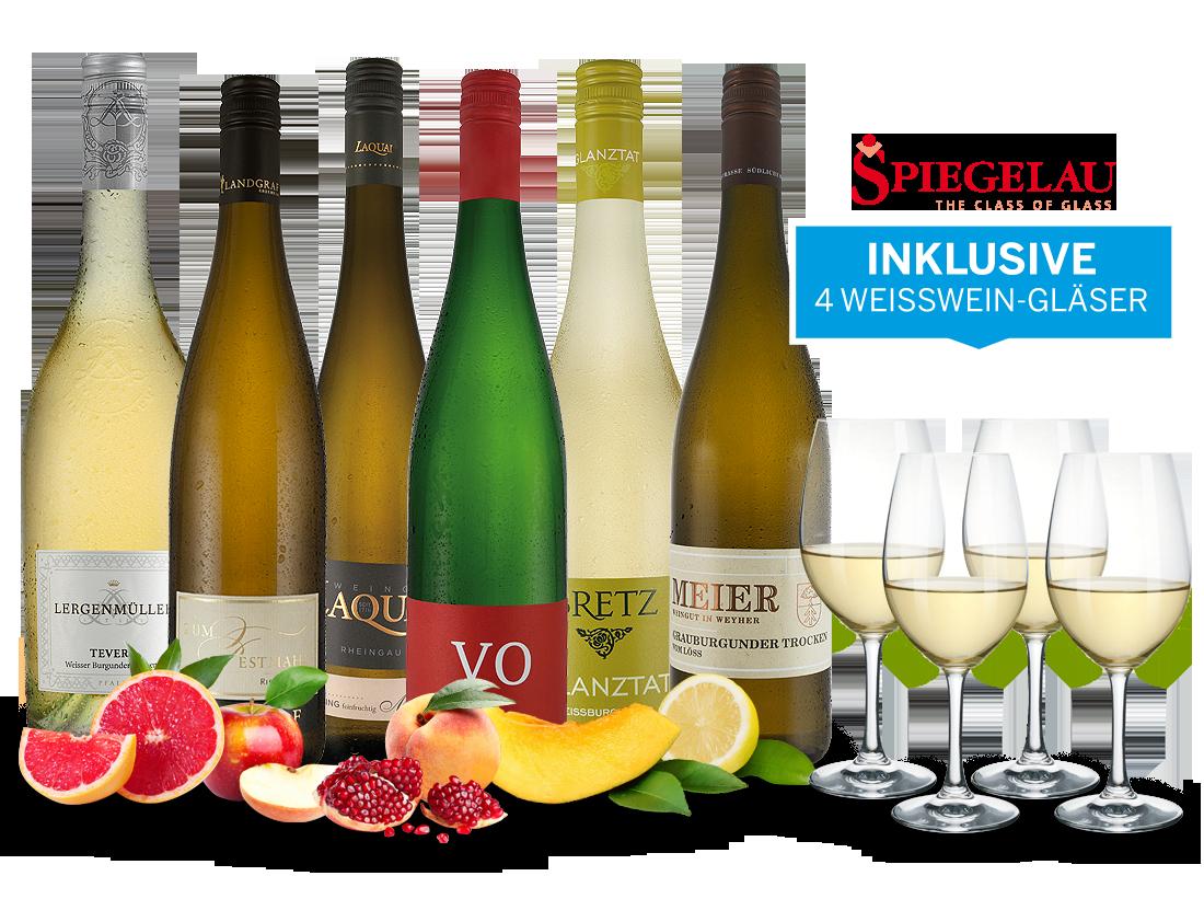 Festliche Weißweine aus Deutschland inkl. 4 Spiegelau Gläser11,09€ pro l jetztbilligerkaufen