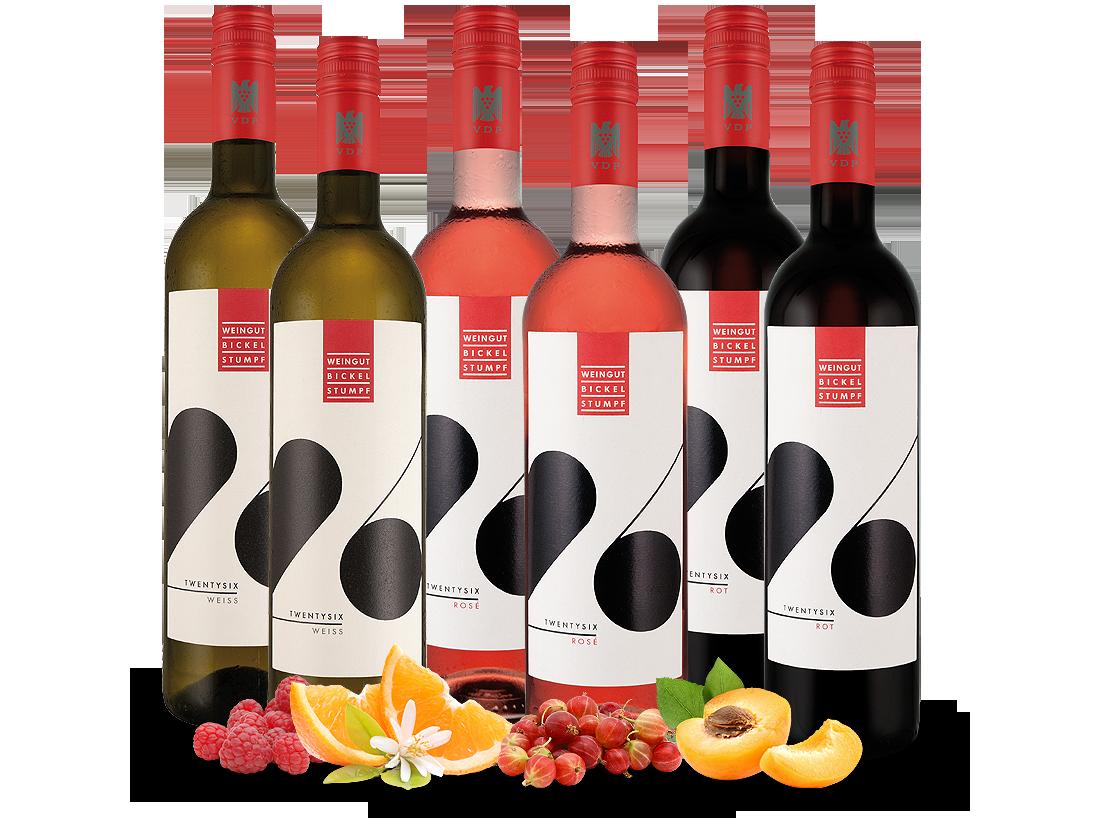 Kennenlernpaket Weingut Bickel-Stumpf 6 Fl. TWENTYSIX weiß, rosé & rot12,22€ pro l jetztbilligerkaufen