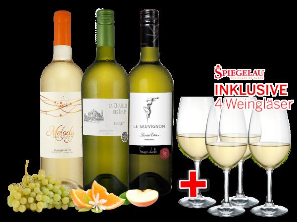 Kennenlernpaket François Lurton aus Südfrankreich inkl. 4 Weißwein-Gläser
