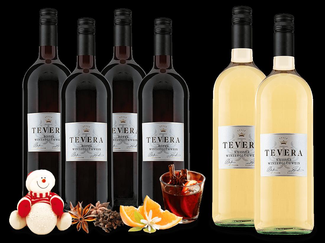 Vorteilspaket Minerva 4 Flaschen Roter Winzerglühwein mit 2 Flaschen gratis in Weiß5,00? pro l