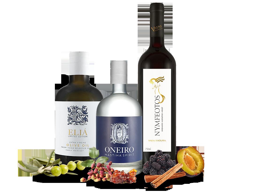 Probierpaket Griechischer Abend mit je 1 Fl. Wein, Olivenöl und Spirituose17,14? pro l