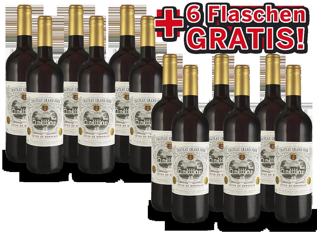 Vorteilspaket 12 für 6 Château Grand Jour Bordeaux9,33? pro l