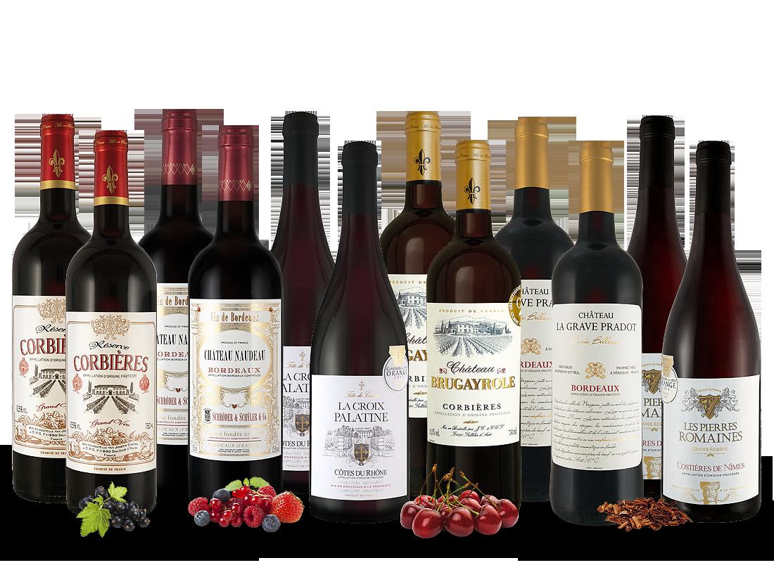Französisches Rotwein-Topseller-Probierpaket7,78? pro l
