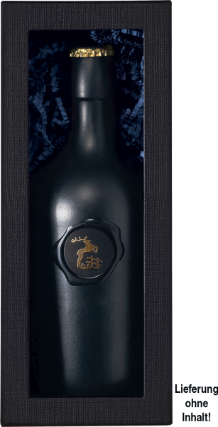 Stülpdeckelschachtel schwarz mit Folienfenster für 1 Sonderformat-Flasche