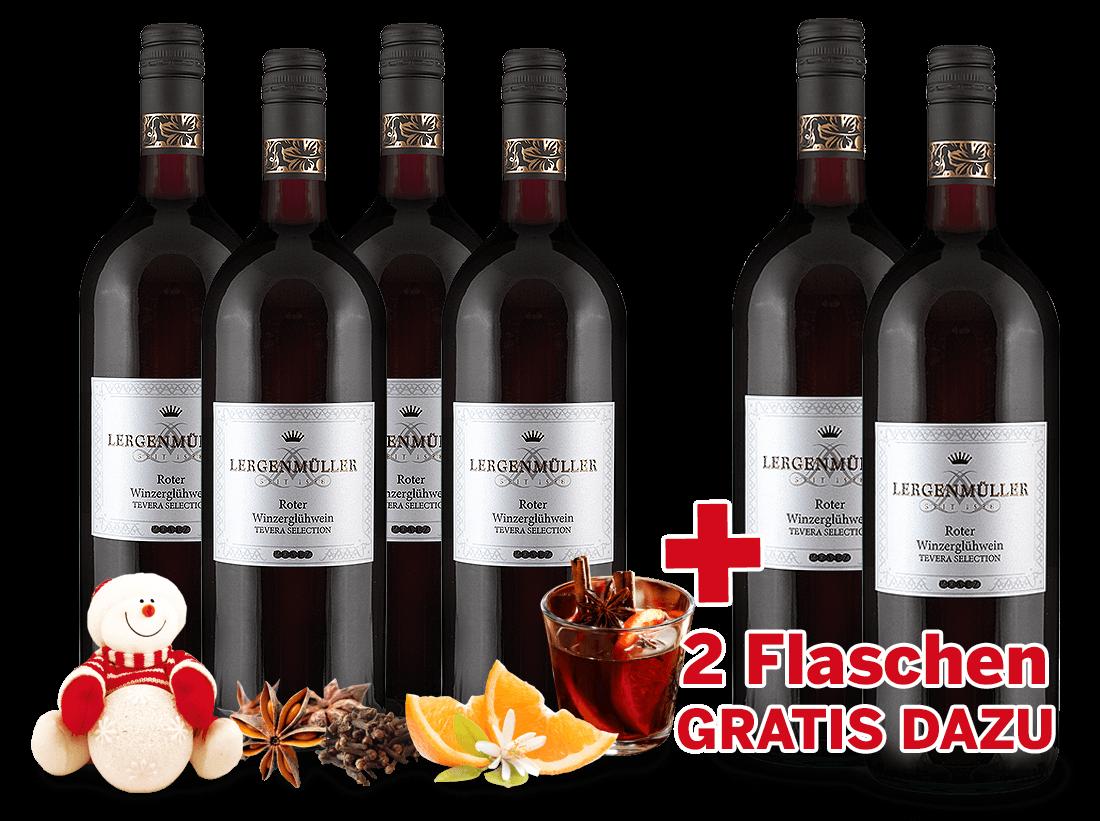 Vorteilspaket 6 Flaschen Minerva Roter Winzerglühwein davon 2 Flaschen gratis5,00? pro l
