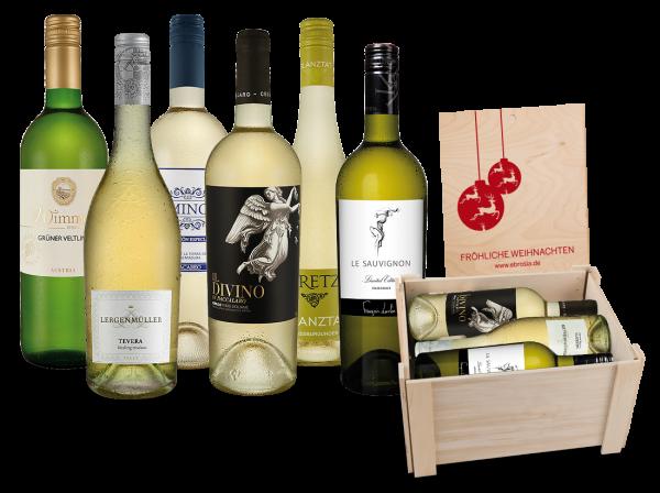 Weißwein-Kiste 'Fröhliche Weihnachten' mit 6 Flaschen in hochwertiger, faltbarer Holzbox