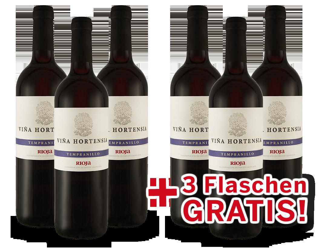 Vorteilspaket 6 für 3 Viña Hortensia Rioja Tempranillo Preferido Tinto7,99? pro l