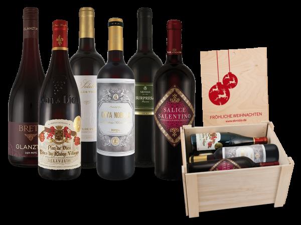 Rotwein-Kiste 'Fröhliche Weihnachten' mit 6 erlesenen Flaschen in faltbarer Holzbox