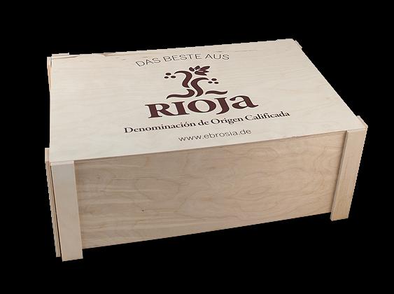 Holzkiste Best of Rioja für 12 Flaschen natur faltbar