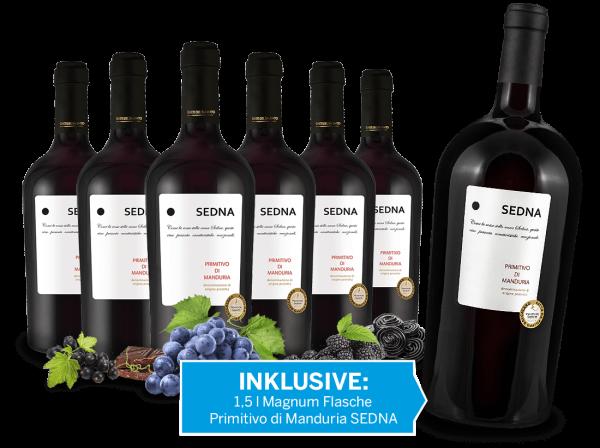 Vorteilspaket 6 Flaschen Primitivo di Manduria SEDNA inkl. 1 Magnumflasche