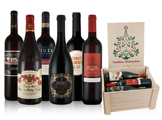Rotweinpaket Fröhliche Weihnachten mit 6 Flaschen in hochwertiger Holzkiste11,09€ pro l